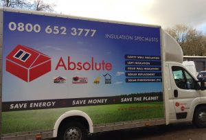 Absolute Solar vehicle installing renewable technology